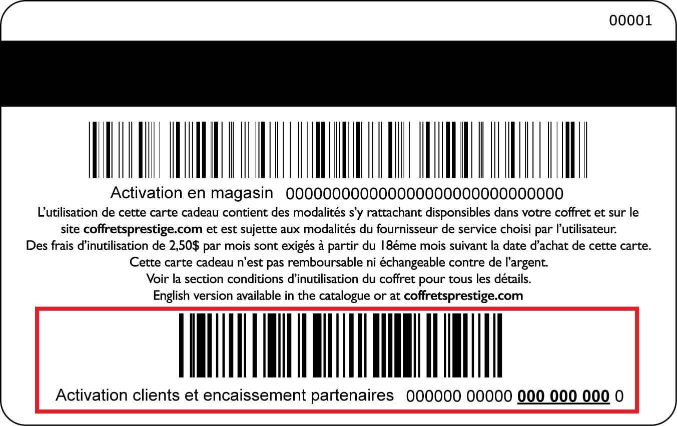 Modèle carte Coffrets Prestige Incomm